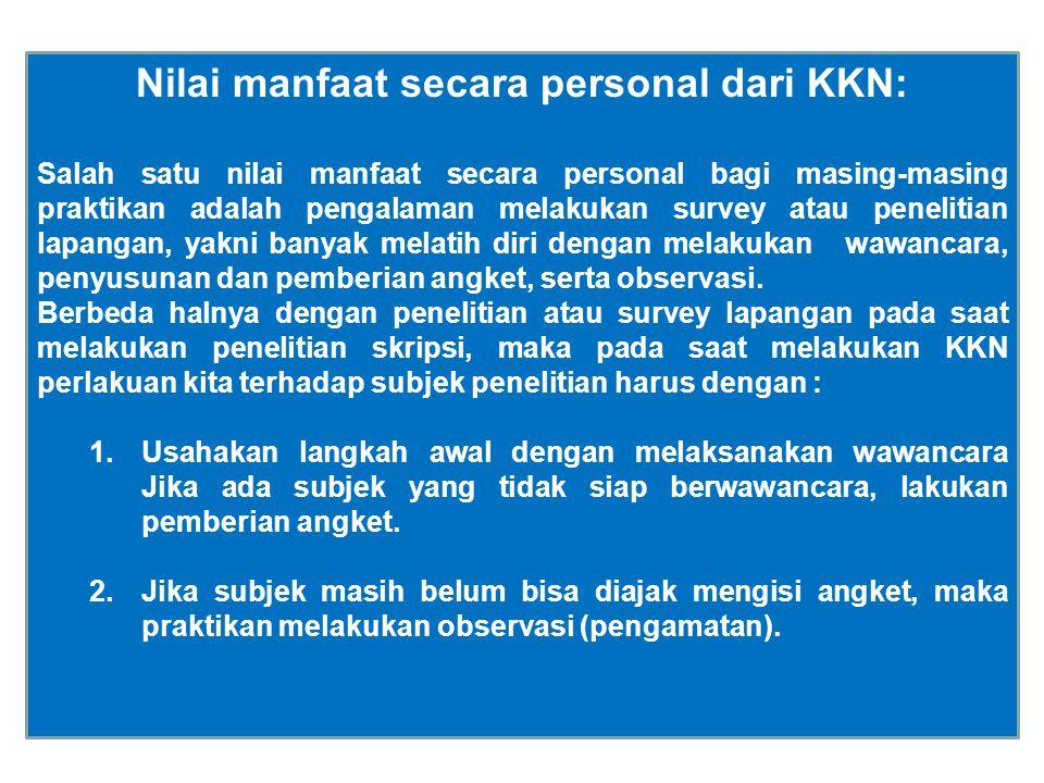 Nilai manfaat secara personal dari KKN: