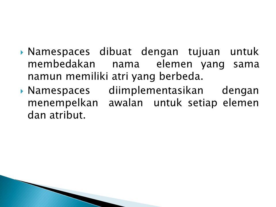 Namespaces dibuat dengan tujuan untuk membedakan nama elemen yang sama namun memiliki atri yang berbeda.