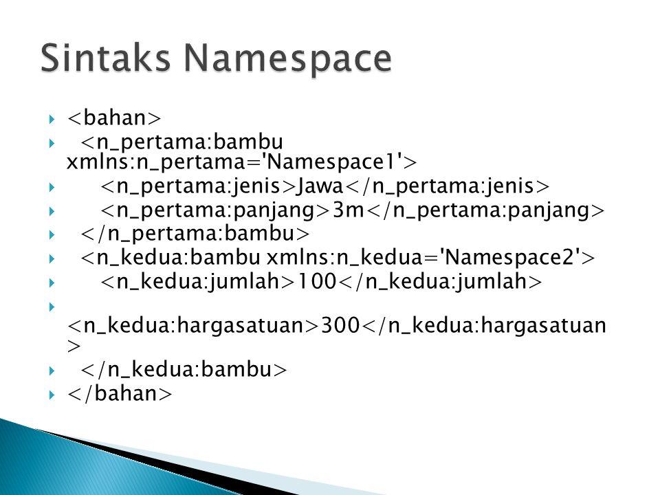 Sintaks Namespace <bahan>