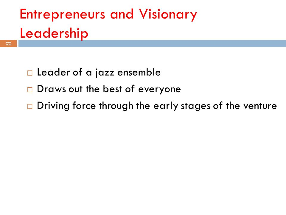 Entrepreneurs and Visionary Leadership