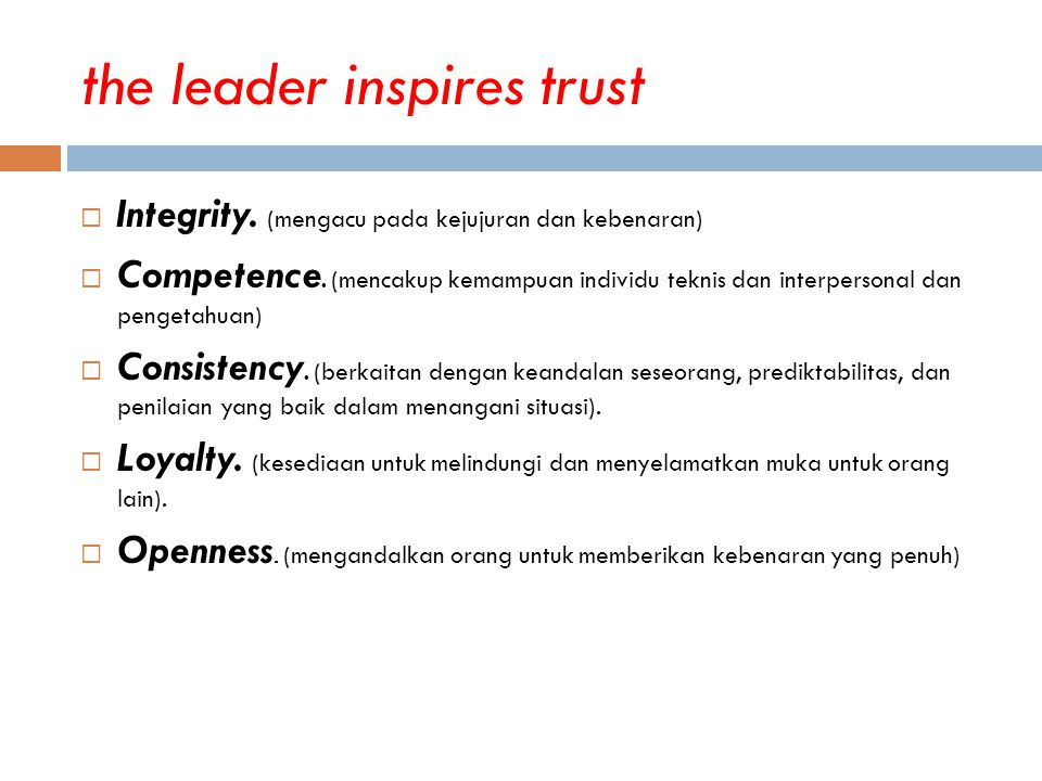 the leader inspires trust