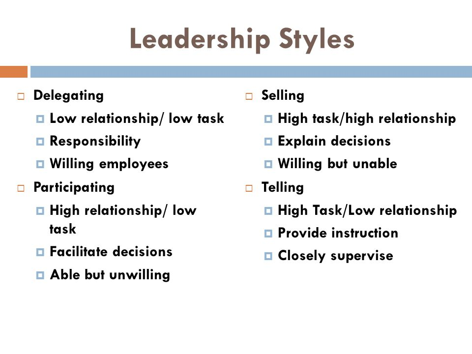 Leadership Styles Delegating Low relationship/ low task Responsibility