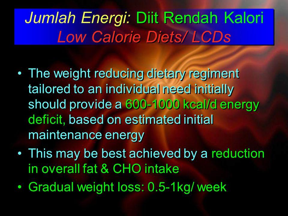 Jumlah Energi: Diit Rendah Kalori Low Calorie Diets/ LCDs