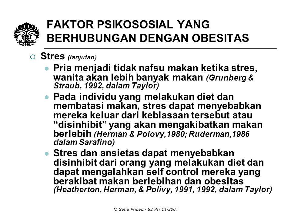 FAKTOR PSIKOSOSIAL YANG BERHUBUNGAN DENGAN OBESITAS