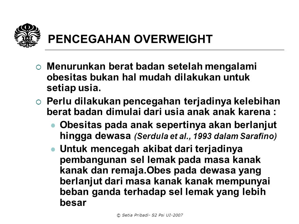 PENCEGAHAN OVERWEIGHT