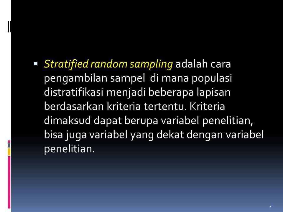 Stratified random sampling adalah cara pengambilan sampel di mana populasi distratifikasi menjadi beberapa lapisan berdasarkan kriteria tertentu.