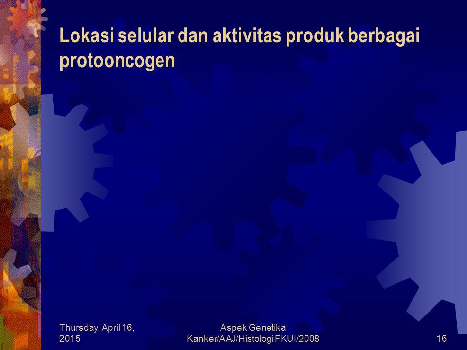 Lokasi selular dan aktivitas produk berbagai protooncogen