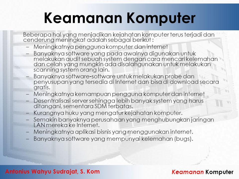 Keamanan Komputer Beberapa hal yang menjadikan kejahatan komputer terus terjadi dan cenderung meningkat adalah sebagai berikut :