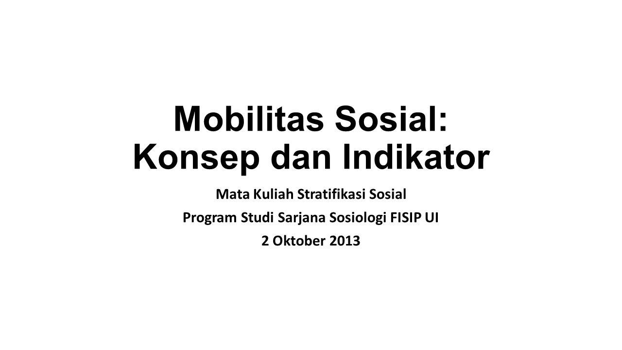 Mobilitas Sosial: Konsep dan Indikator