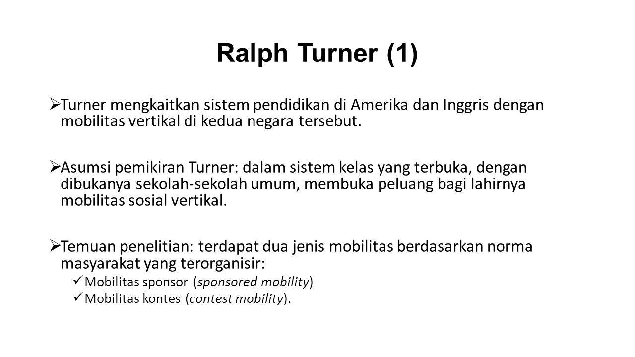 Ralph Turner (1) Turner mengkaitkan sistem pendidikan di Amerika dan Inggris dengan mobilitas vertikal di kedua negara tersebut.