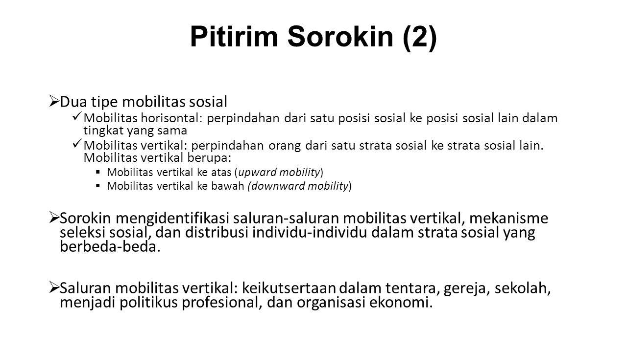 Pitirim Sorokin (2) Dua tipe mobilitas sosial