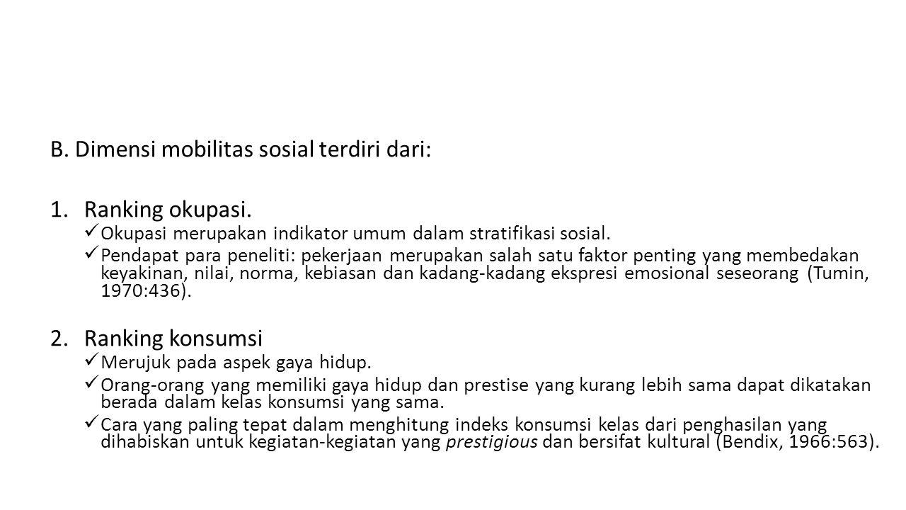 B. Dimensi mobilitas sosial terdiri dari: Ranking okupasi.