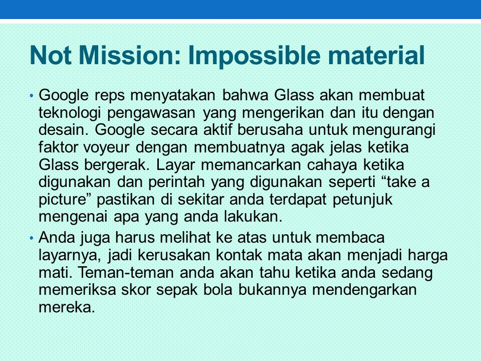 Not Mission: Impossible material