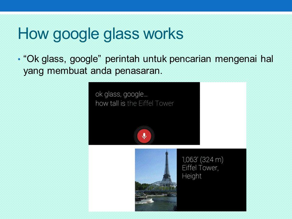 How google glass works Ok glass, google perintah untuk pencarian mengenai hal yang membuat anda penasaran.