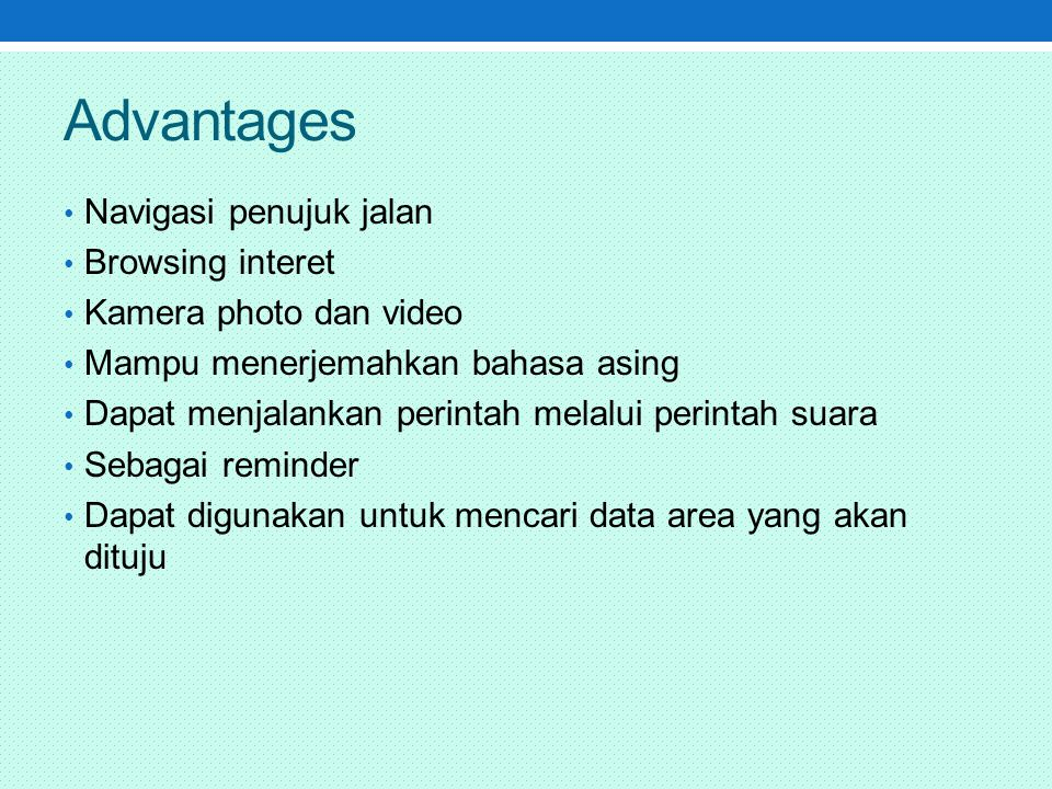 Advantages Navigasi penujuk jalan Browsing interet