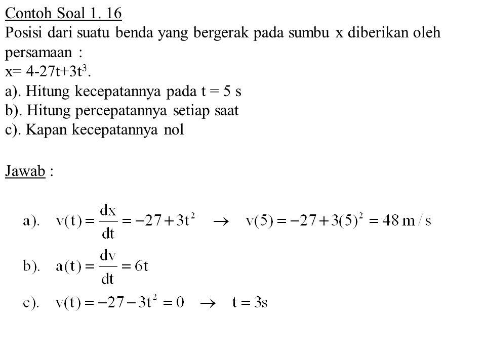 Contoh Soal 1. 16 Posisi dari suatu benda yang bergerak pada sumbu x diberikan oleh persamaan : x= 4-27t+3t3.