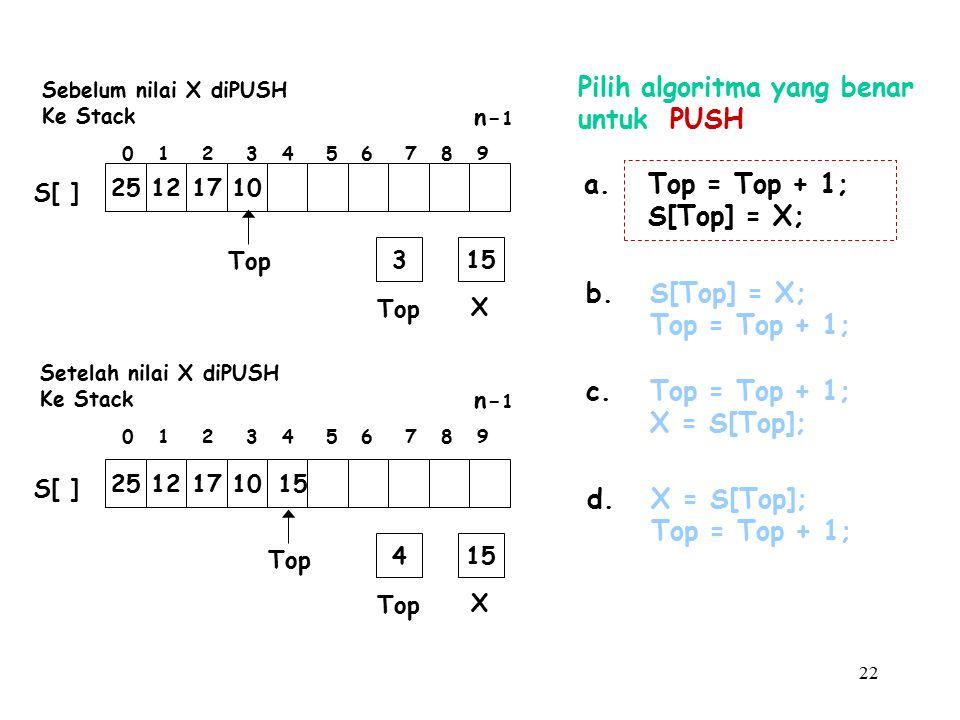 Pilih algoritma yang benar untuk PUSH