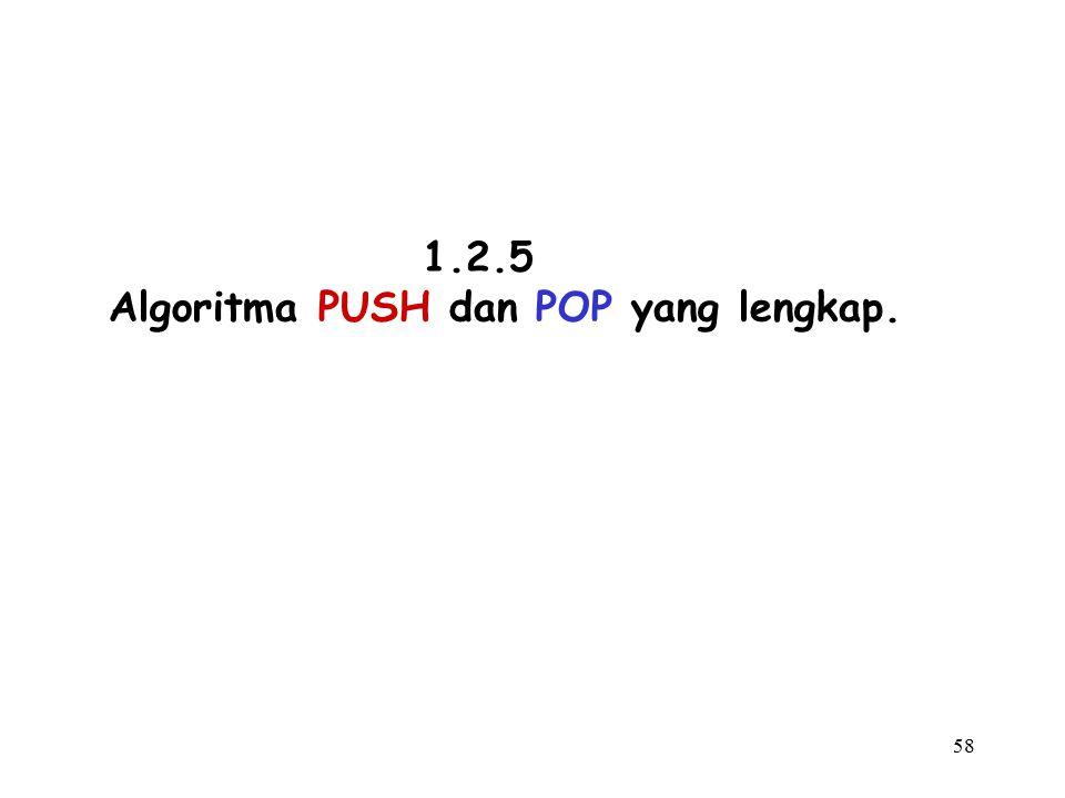 Algoritma PUSH dan POP yang lengkap.