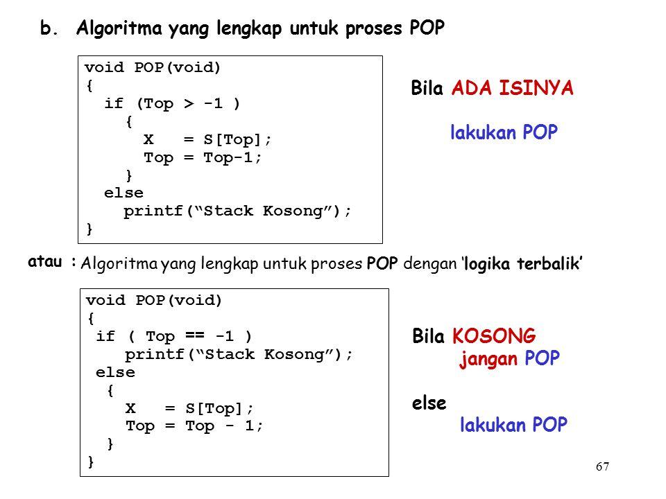 b. Algoritma yang lengkap untuk proses POP
