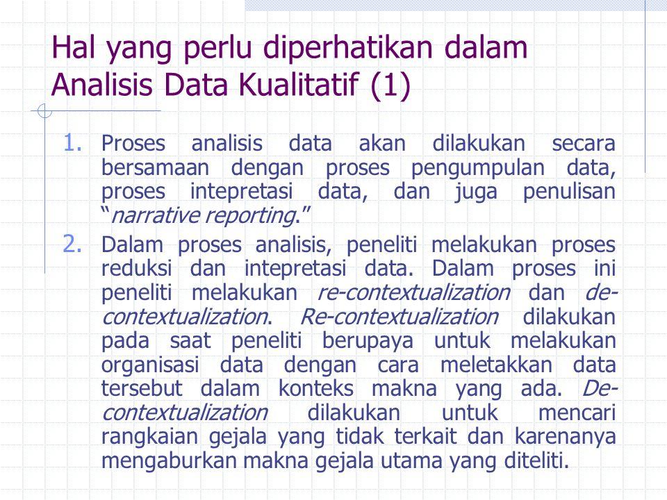 Hal yang perlu diperhatikan dalam Analisis Data Kualitatif (1)