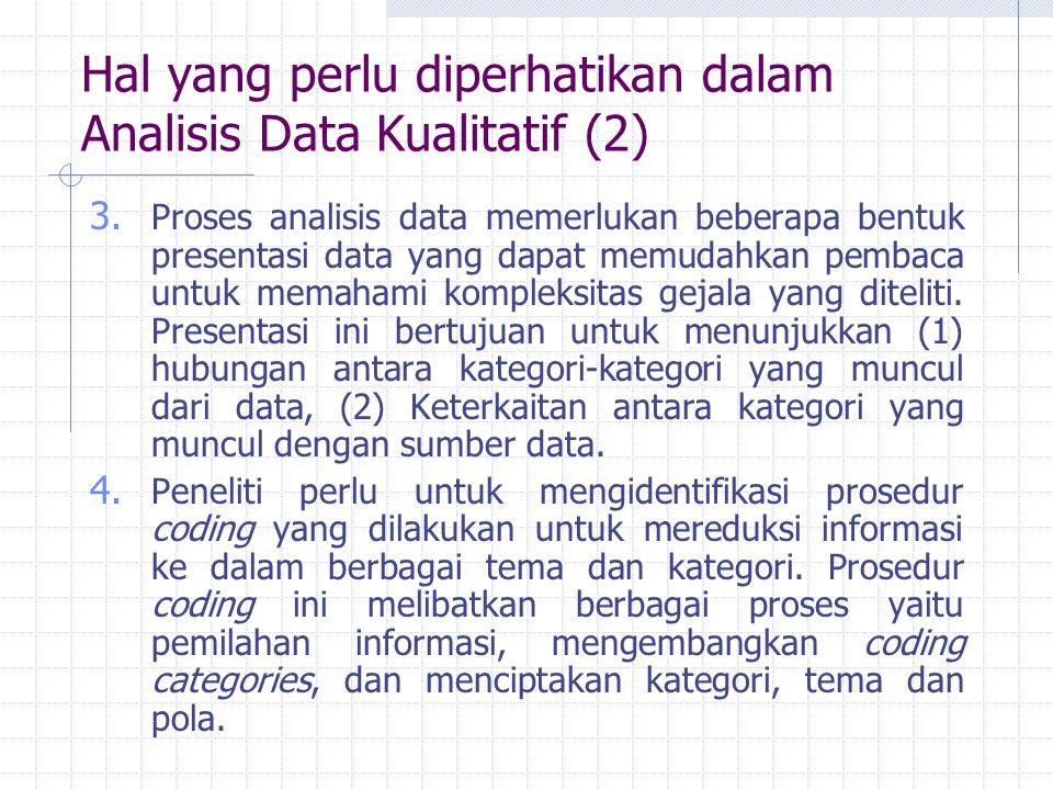 Hal yang perlu diperhatikan dalam Analisis Data Kualitatif (2)