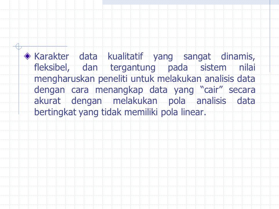 Karakter data kualitatif yang sangat dinamis, fleksibel, dan tergantung pada sistem nilai mengharuskan peneliti untuk melakukan analisis data dengan cara menangkap data yang cair secara akurat dengan melakukan pola analisis data bertingkat yang tidak memiliki pola linear.