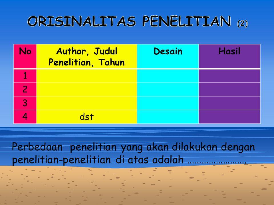 ORISINALITAS PENELITIAN (2) Author, Judul Penelitian, Tahun