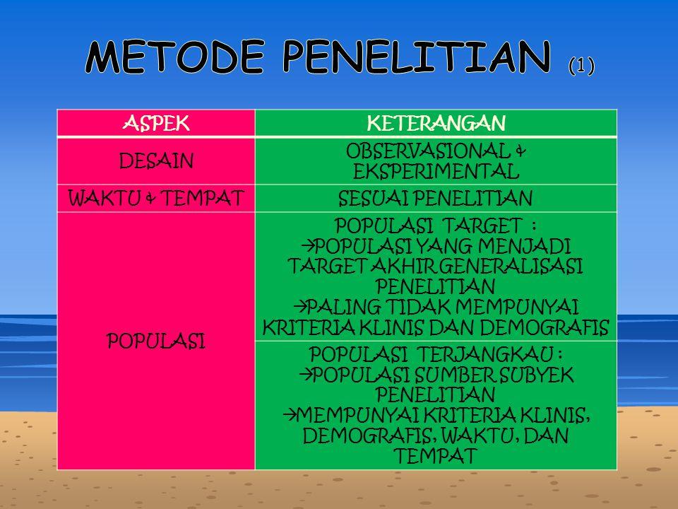 METODE PENELITIAN (1) ASPEK KETERANGAN DESAIN