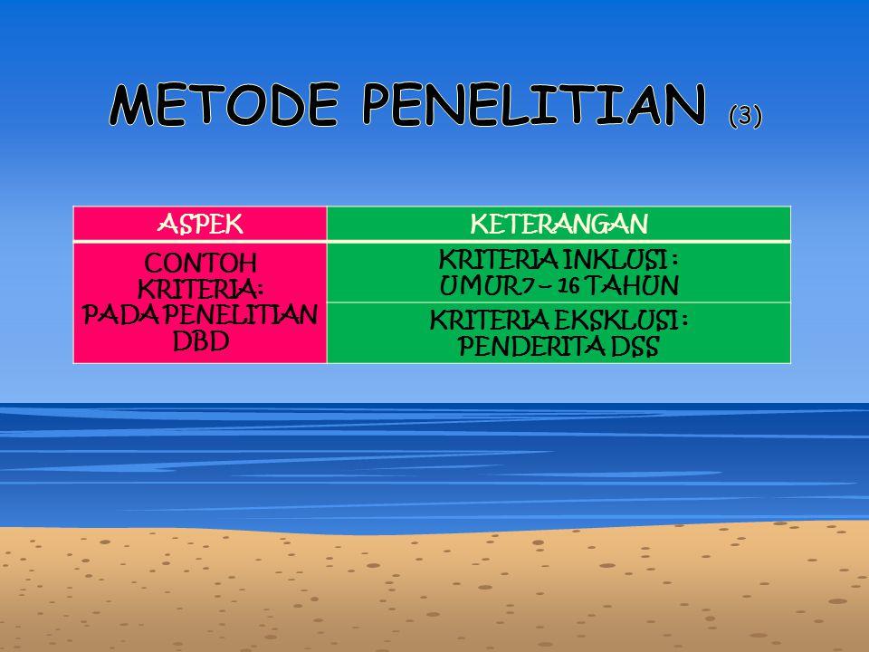 METODE PENELITIAN (3) ASPEK KETERANGAN CONTOH KRITERIA: