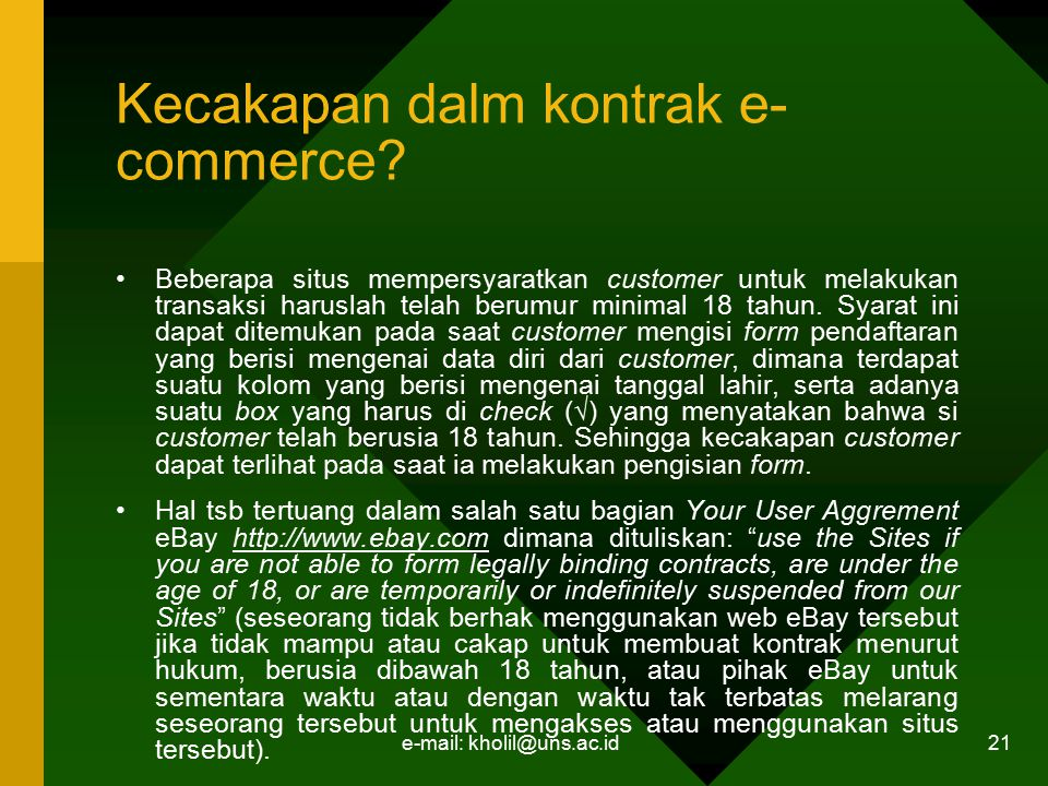 Kecakapan dalm kontrak e-commerce