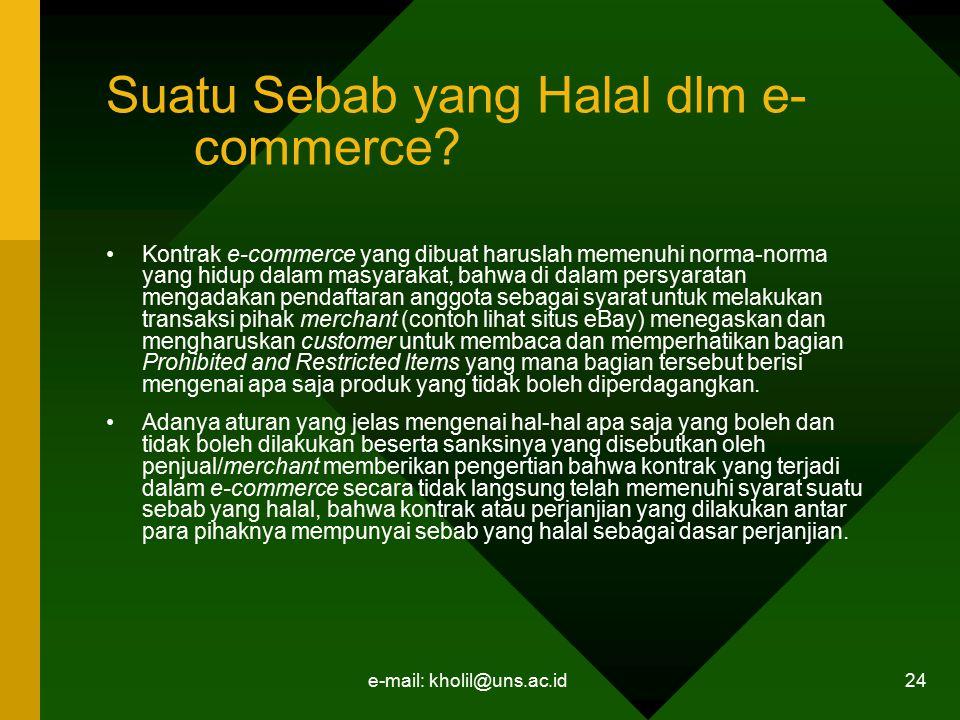 Suatu Sebab yang Halal dlm e-commerce