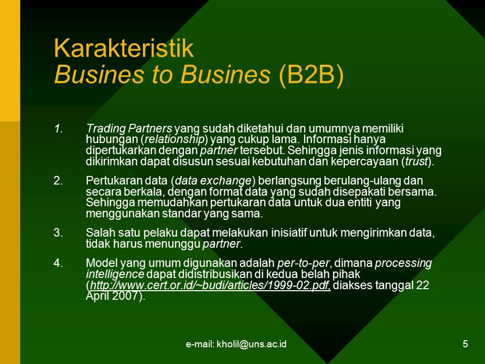 Karakteristik Busines to Busines (B2B)