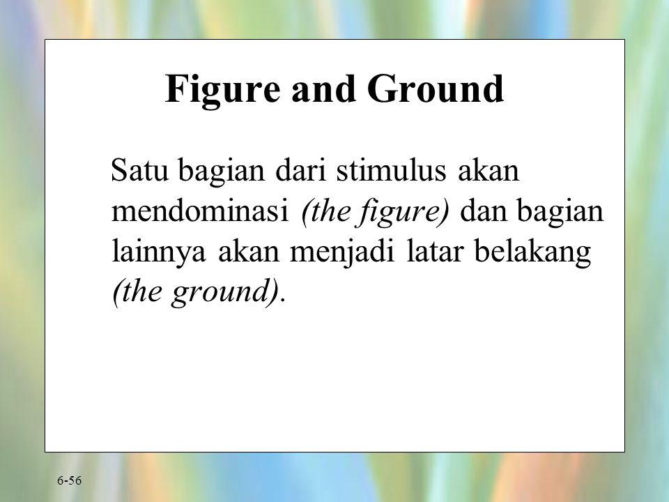 Figure and Ground Satu bagian dari stimulus akan mendominasi (the figure) dan bagian lainnya akan menjadi latar belakang (the ground).