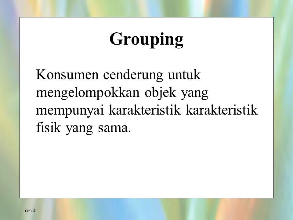 Grouping Konsumen cenderung untuk mengelompokkan objek yang mempunyai karakteristik karakteristik fisik yang sama.