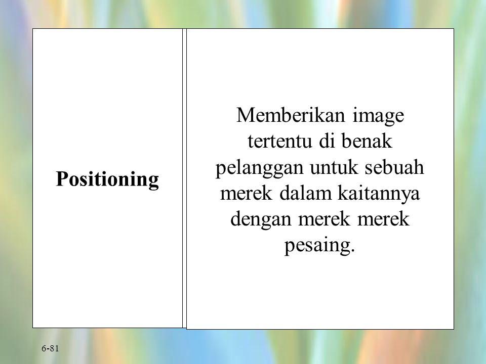 Positioning Memberikan image tertentu di benak pelanggan untuk sebuah merek dalam kaitannya dengan merek merek pesaing.