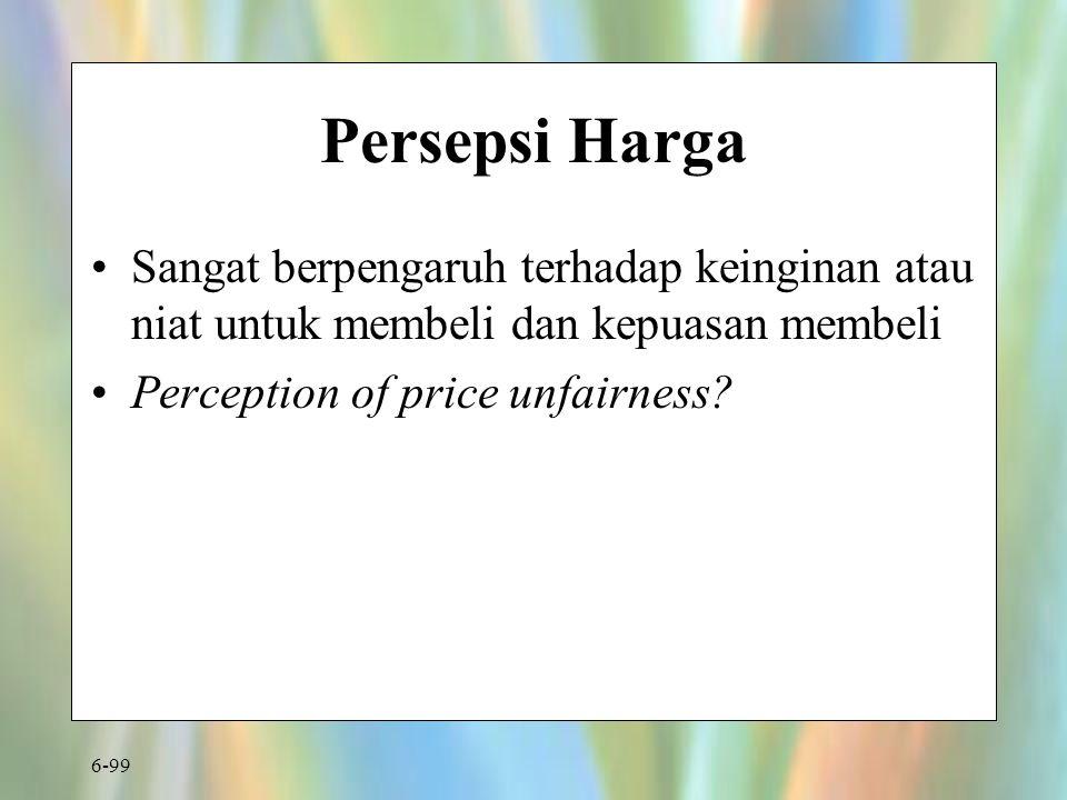 Persepsi Harga Sangat berpengaruh terhadap keinginan atau niat untuk membeli dan kepuasan membeli.