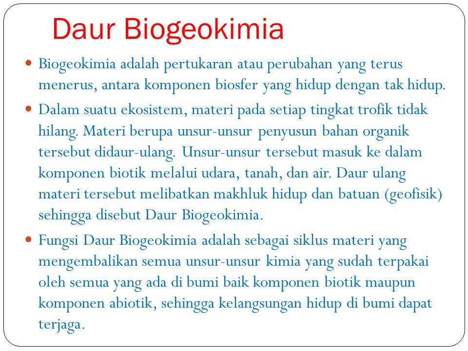 Daur Biogeokimia Biogeokimia adalah pertukaran atau perubahan yang terus menerus, antara komponen biosfer yang hidup dengan tak hidup.