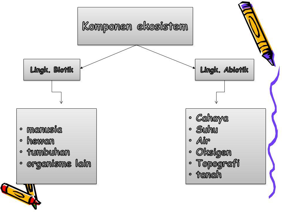 Komponen ekosistem manusia hewan tumbuhan organisme lain Cahaya Suhu