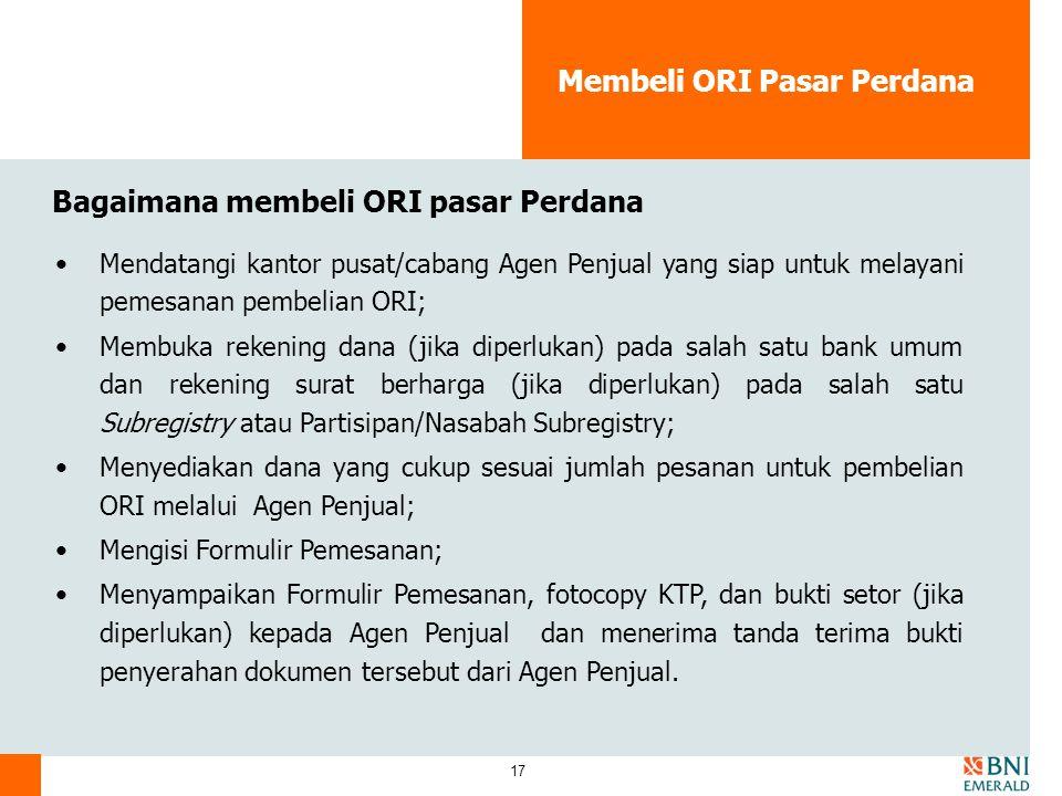 Membeli ORI Pasar Perdana