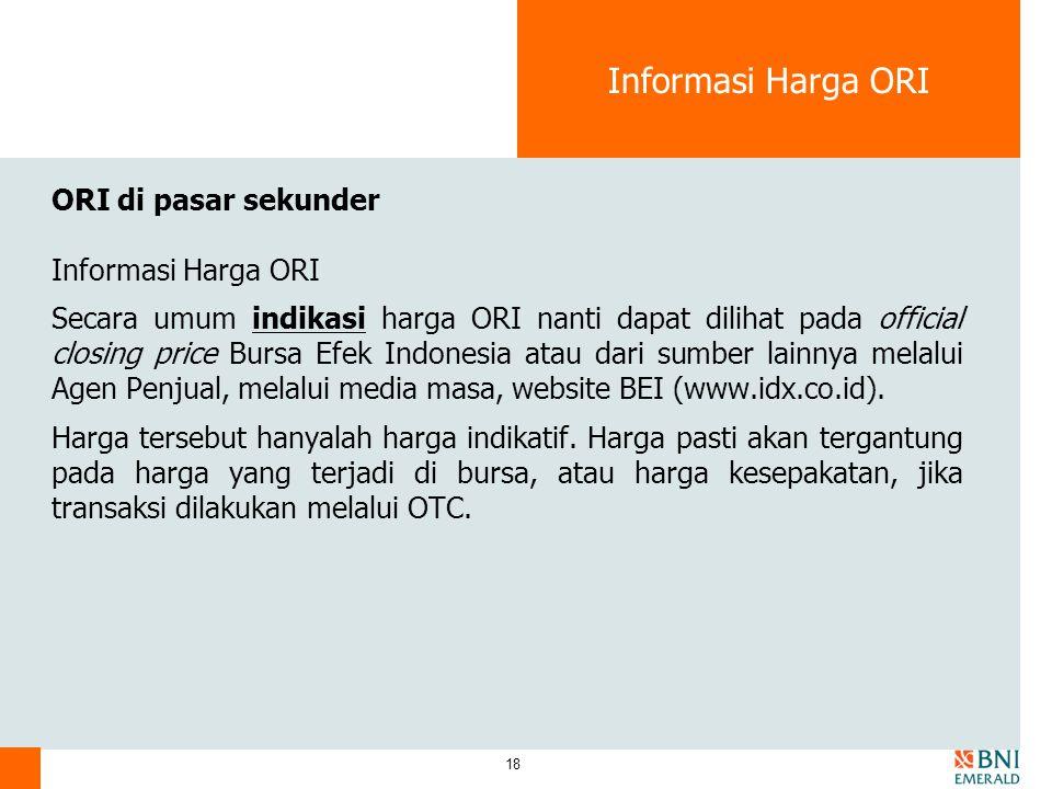 Informasi Harga ORI ORI di pasar sekunder Informasi Harga ORI
