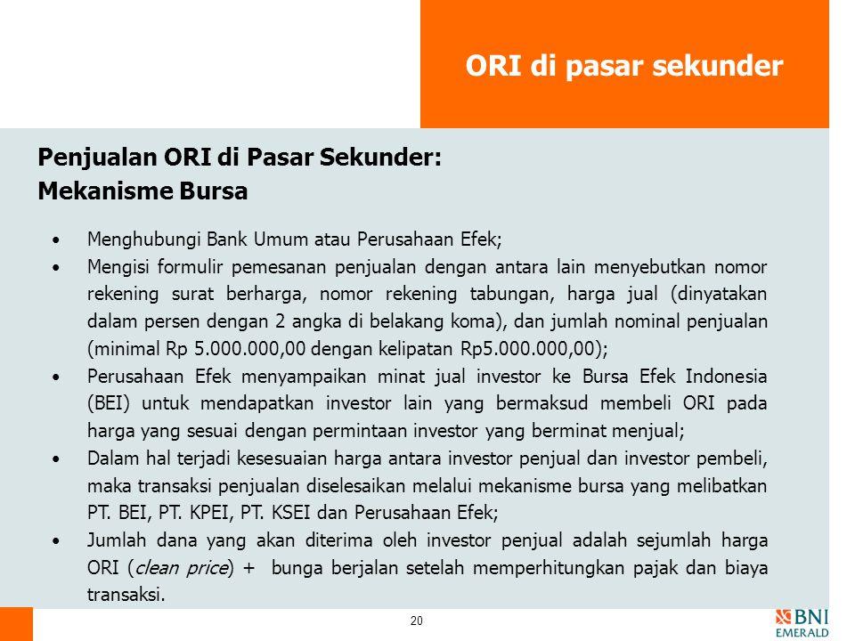 ORI di pasar sekunder Penjualan ORI di Pasar Sekunder: Mekanisme Bursa