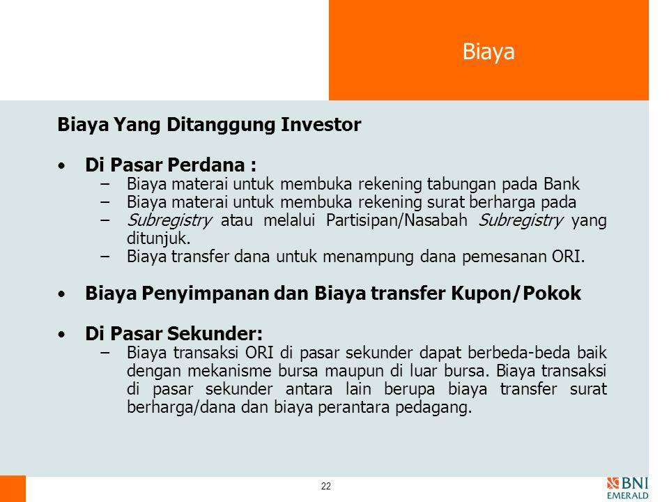Biaya Biaya Yang Ditanggung Investor Di Pasar Perdana :