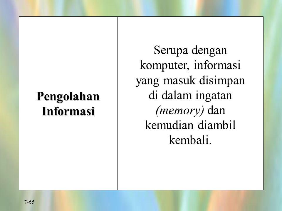 Pengolahan Informasi Serupa dengan komputer, informasi yang masuk disimpan di dalam ingatan (memory) dan kemudian diambil kembali.