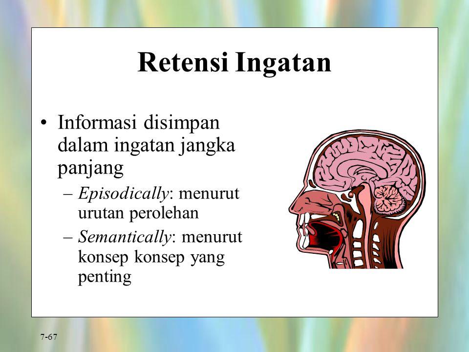 Retensi Ingatan Informasi disimpan dalam ingatan jangka panjang