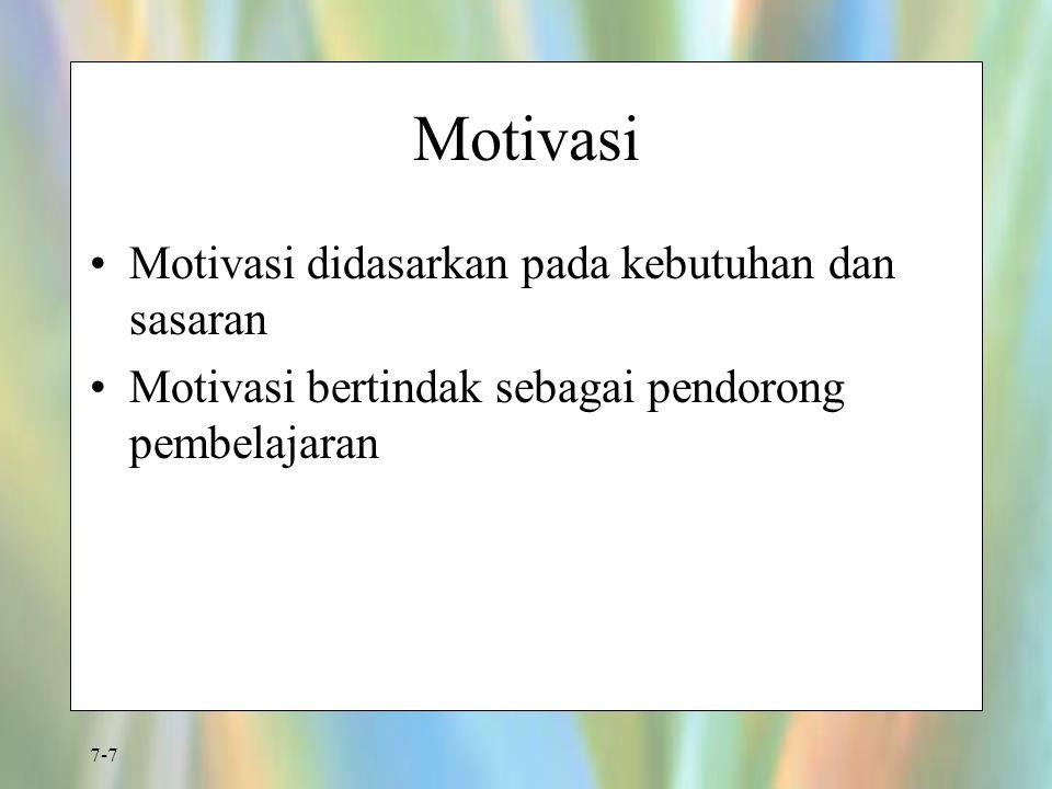Motivasi Motivasi didasarkan pada kebutuhan dan sasaran
