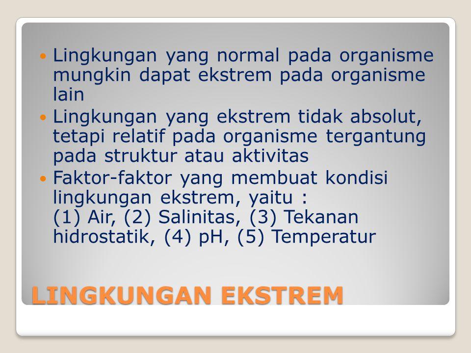 Lingkungan yang normal pada organisme mungkin dapat ekstrem pada organisme lain