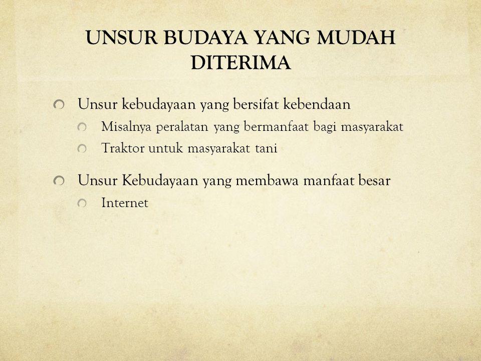 UNSUR BUDAYA YANG MUDAH DITERIMA