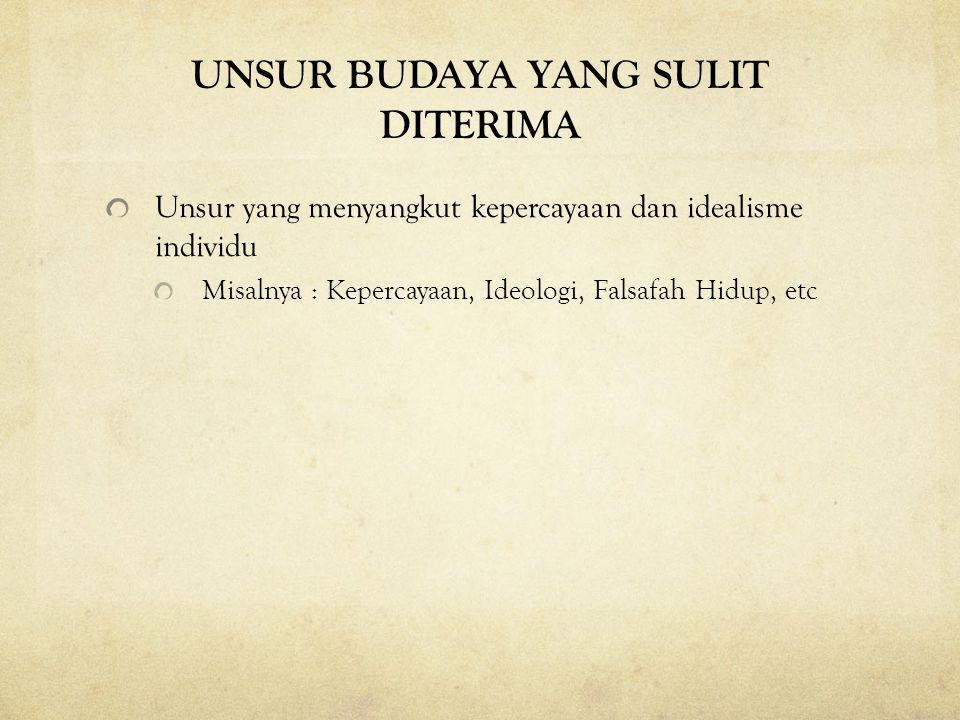 UNSUR BUDAYA YANG SULIT DITERIMA