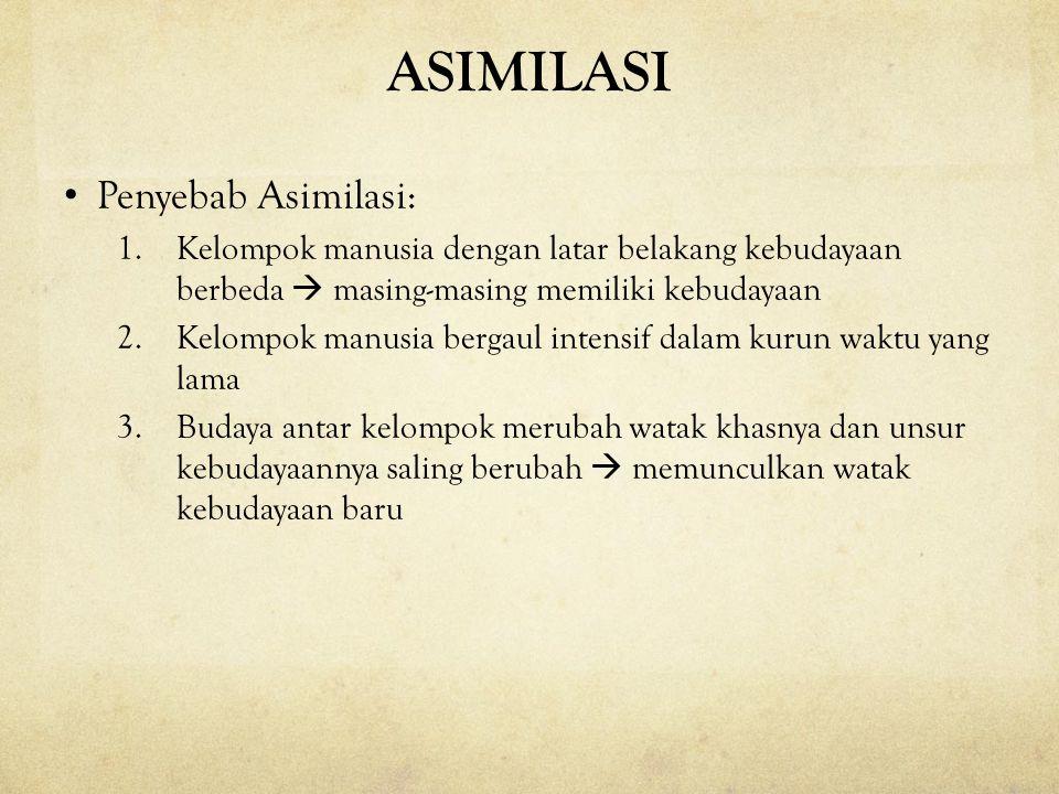 ASIMILASI Penyebab Asimilasi: