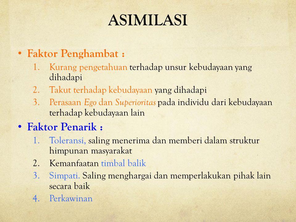 ASIMILASI Faktor Penghambat : Faktor Penarik :